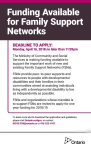 Funding Available: MCSS Family Support Networks