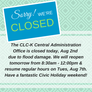 Office Closure ~ August 1, 2 & 3