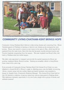 Community Living Chatham-Kent Brings Hope