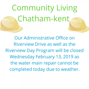 Closure Notice Administration office / Riverview Day program closed