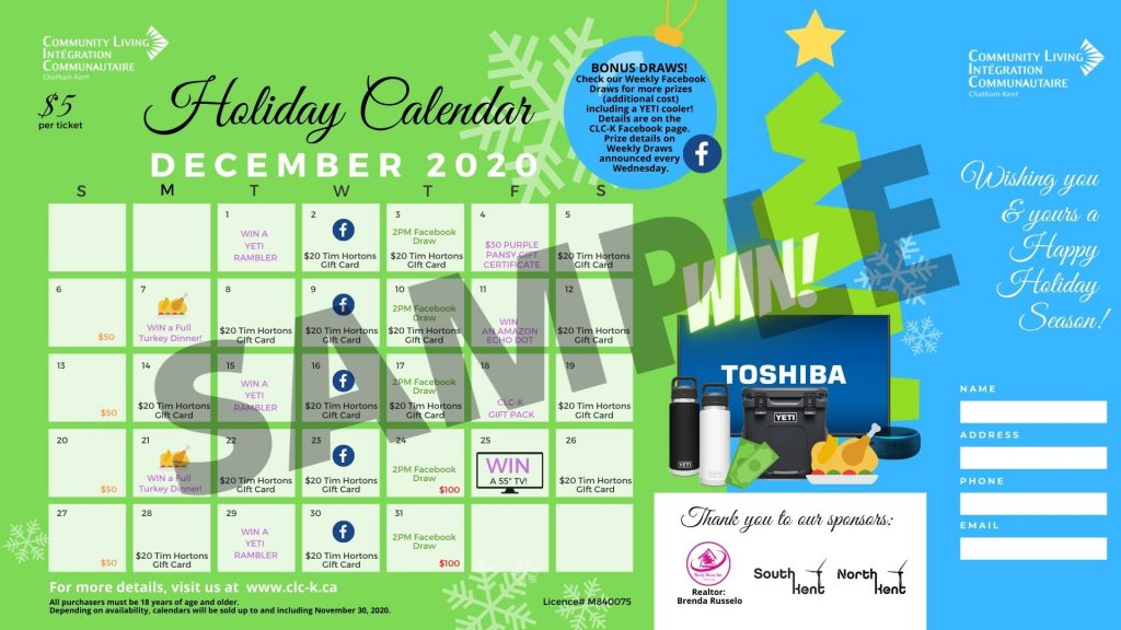 CLC-K HOLIDAY Calendar - sample