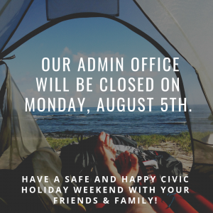 NOTICE: Administrative Offices Closed for Civic Monday
