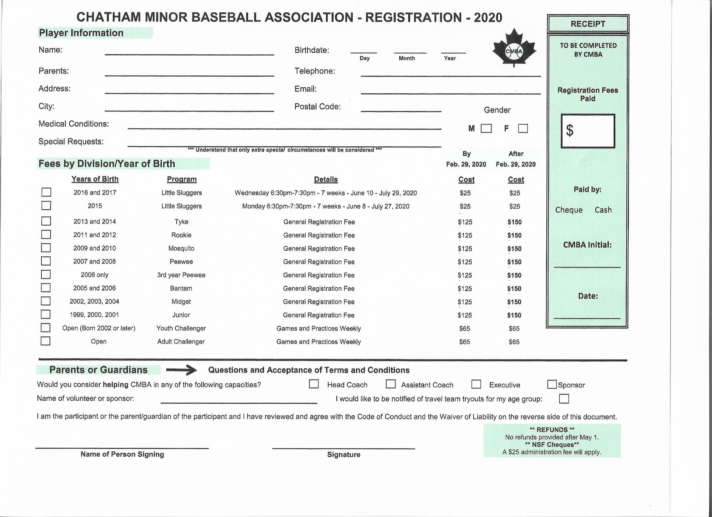 Adult Challenger Registration Form
